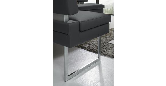 ECKBANK 158/200 cm  in Grau, Edelstahlfarben  - Edelstahlfarben/Grau, Design, Textil/Metall (158/200cm) - Dieter Knoll