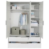 KLEIDERSCHRANK 3-türig Grau, Weiß - Weiß/Grau, Design, Holzwerkstoff/Metall (148,5/202,8/56,2cm) - Paidi