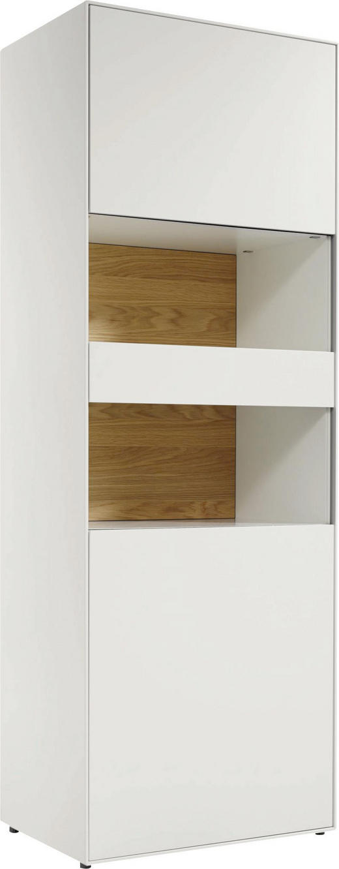 VITRINE Eichefarben, Weiß - Eichefarben/Schwarz, Design, Glas/Holzwerkstoff (64/179,2/44,8cm) - Hülsta - Now