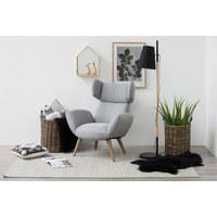 OHRENSESSEL - Eschefarben/Hellgrau, Design, Holz/Textil (88/109/90cm) - Carryhome