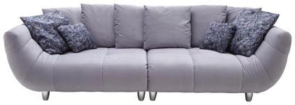 BIGSOFA Samt Silberfarben - Chromfarben/Blau, Design, Kunststoff/Textil (300/87/133cm) - Hom`in