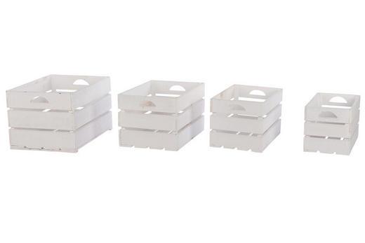 Aufbewahrungsboxen Set 4 tlg. - Weiß, LIFESTYLE, Holz (33/28/47cm)
