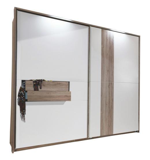SCHWEBETÜRENSCHRANK in Eiche Weiß, Eichefarben - Eichefarben/Alufarben, Design, Holzwerkstoff/Metall (250/218/65cm) - Carryhome