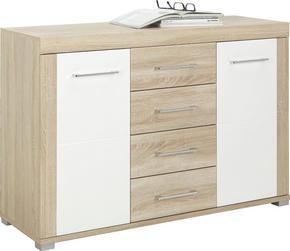 SIDEBOARD - vit/alufärgad, Design, metall/träbaserade material (129/88/45cm) - Carryhome