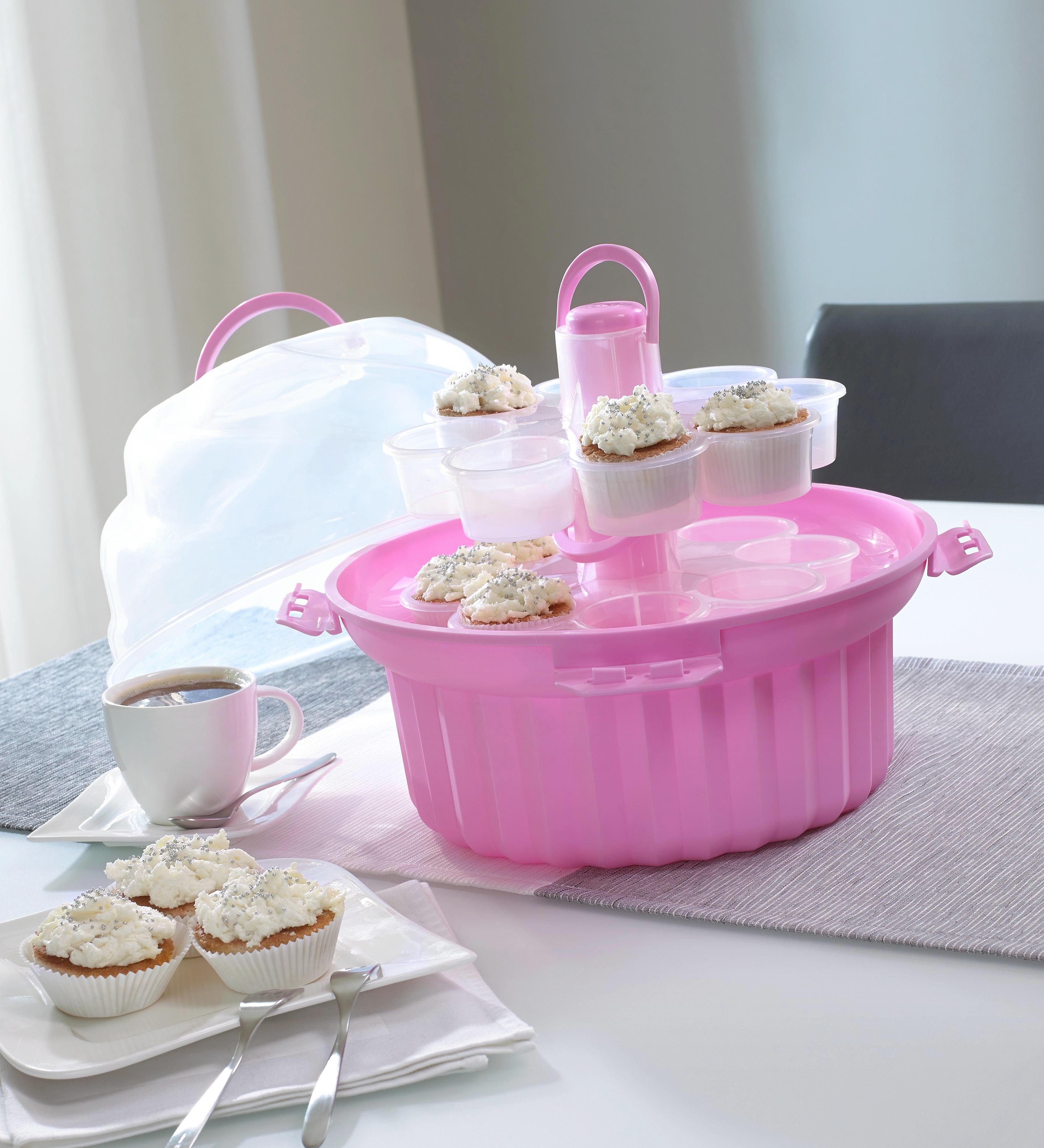 CUPCAKE-STÄNDER - Pink/Transparent, Basics, Kunststoff (33/28cm) - HOMEWARE