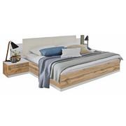 BETTANLAGE  180 cm  x  200 cm  in Holzwerkstoff, Textil Eichefarben, Weiß - Eichefarben/Weiß, Design, Holzwerkstoff/Textil (180/200cm) - CARRYHOME