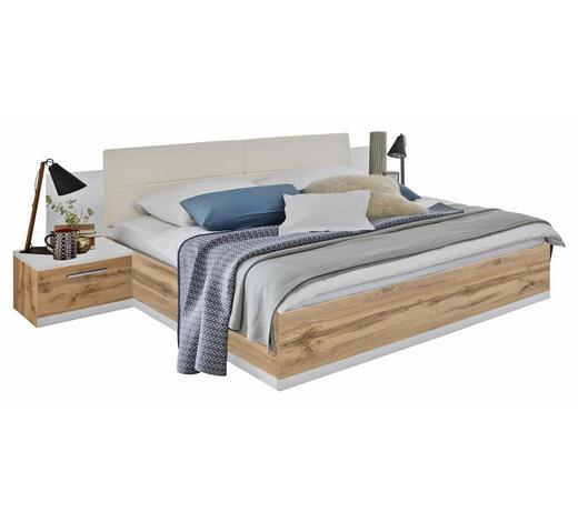 BETTANLAGE in Weiß, Eichefarben  - Eichefarben/Weiß, Design, Holzwerkstoff/Textil (180/200cm) - Carryhome