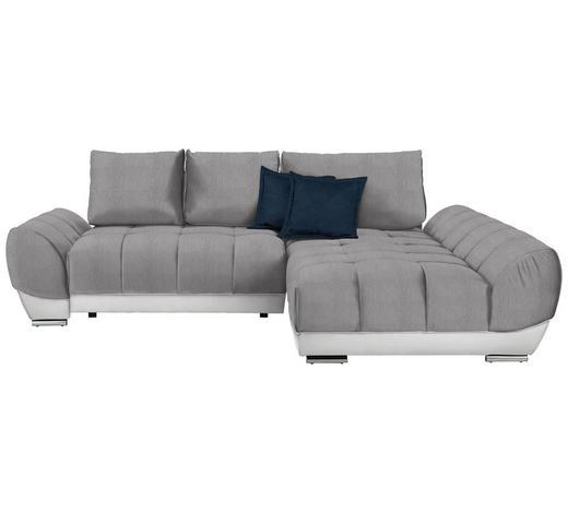WOHNLANDSCHAFT in Textil Weiß, Hellgrau, Dunkelblau - Hellgrau/Weiß, MODERN, Textil/Metall (290/192cm) - Carryhome