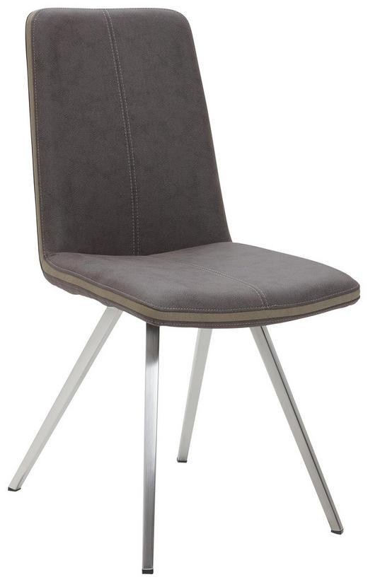 STUHL Braun, Edelstahlfarben, Taupe - Taupe/Edelstahlfarben, Design, Textil/Metall (45/92/63cm) - Voleo