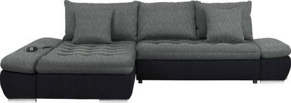 WOHNLANDSCHAFT in Textil Grau, Schwarz - Chromfarben/Schwarz, Design, Textil/Metall (200/309cm) - Hom`in
