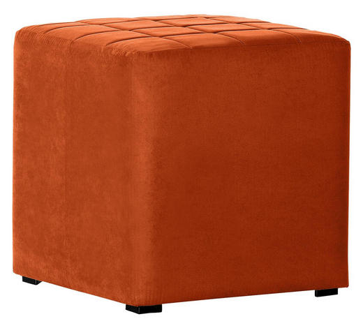 HOCKER Mikrofaser Orange  - Schwarz/Orange, KONVENTIONELL, Textil (40/42/40cm) - Carryhome