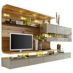 ANBAUWAND in Eichefarben, Fango  - Fango/Edelstahlfarben, Design, Glas/Holz (357,5/186,8/55,7cm) - Moderano