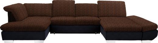 WOHNLANDSCHAFT in Textil Orange, Schwarz - Chromfarben/Schwarz, Design, Kunststoff/Textil (211/350/204cm) - Xora