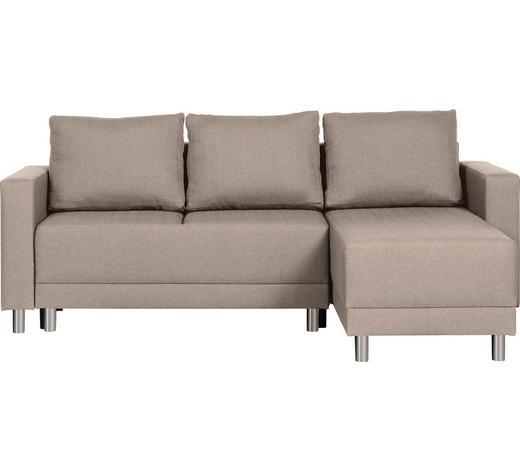 WOHNLANDSCHAFT in Textil Beige - Beige/Silberfarben, Design, Kunststoff/Textil (215/145cm) - Carryhome