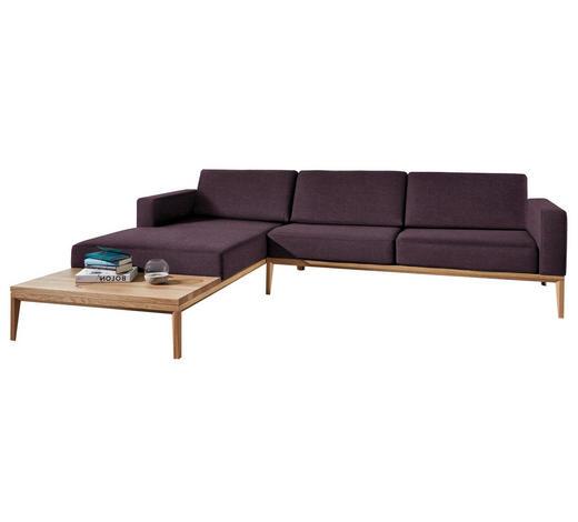 WOHNLANDSCHAFT in Textil Violett  - Eichefarben/Violett, LIFESTYLE, Holz/Textil (221/295cm) - Ada Austria