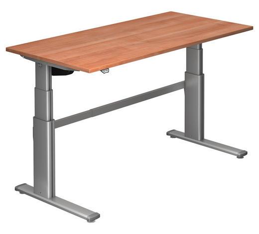 SCHREIBTISCH - Silberfarben/Nussbaumfarben, Design, Holzwerkstoff/Metall (160/66-130/80cm)