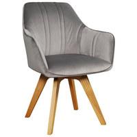 STUHL Samt Esche teilmassiv Grau, Eichefarben  - Eichefarben/Grau, KONVENTIONELL, Holz/Textil (61/86/62,5cm) - Venda