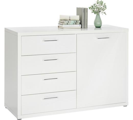 KOMMODE Hochglanz, lackiert Weiß  - Chromfarben/Weiß, Design, Holzwerkstoff/Kunststoff (122/85,5/45cm) - Carryhome