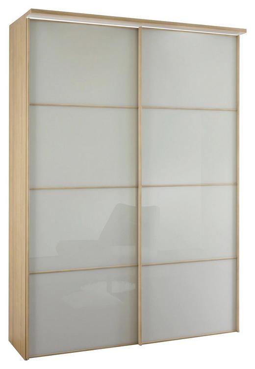 SCHWEBETÜRENSCHRANK 2-türig Eiche Sonoma Eiche, Weiß - Weiß/Sonoma Eiche, Design, Glas/Holzwerkstoff (167/240/68cm) - Moderano