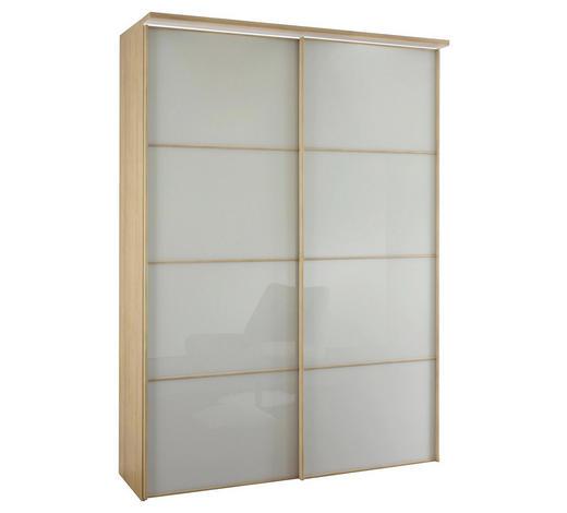 SCHWEBETÜRENSCHRANK 2-türig Eiche Weiß, Sonoma Eiche - Weiß/Sonoma Eiche, Design, Glas/Holzwerkstoff (167/240/68cm) - Moderano