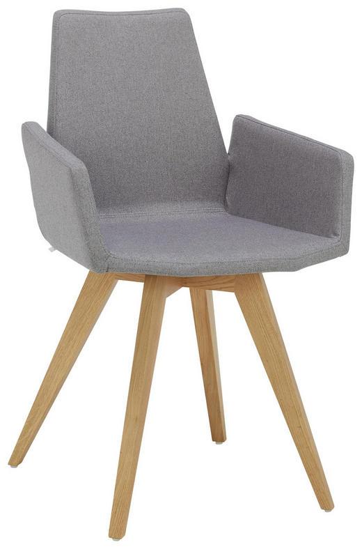 ARMLEHNSTUHL in Eichefarben, Grau - Eichefarben/Grau, Design, Holz/Textil (52 88 54cm) - Lomoco