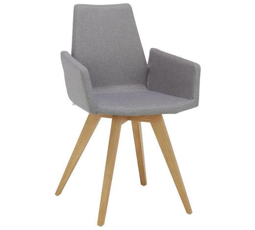 ARMLEHNSTUHL in Grau, Eichefarben - Eichefarben/Grau, Design, Holz/Textil (57/88/54cm) - Lomoco