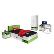 MLADINSKA SOBA bela, zelena - bela/zelena, Basics, leseni material - Carryhome