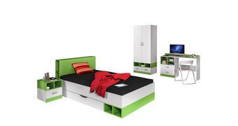 MLADINSKA SOBA zelena, bela  - zelena/bela, Basics, leseni material - Carryhome