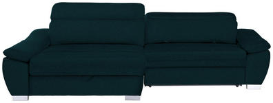 WOHNLANDSCHAFT in Textil Petrol  - Silberfarben/Petrol, MODERN, Kunststoff/Textil (175/270cm) - Carryhome