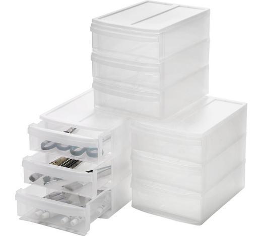 KUTIJA S LADICAMA - prozirno, Basics, plastika (19.2/23.3/26.5cm) - Homeware