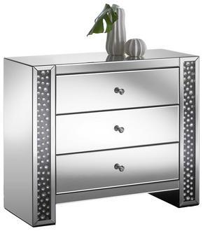 BYRÅ - silver/svart, Design, glas/träbaserade material (95,5/80,5/40cm) - Xora
