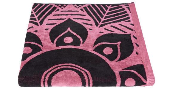 STRANDTUCH 90/180 cm Schwarz, Pink  - Pink/Schwarz, KONVENTIONELL, Textil (90/180cm) - Esposa