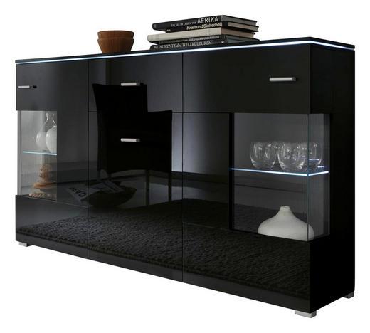 Sideboard holz glas  SIDEBOARD Hochglanz, melaminharzbeschichtet Schwarz online kaufen ...