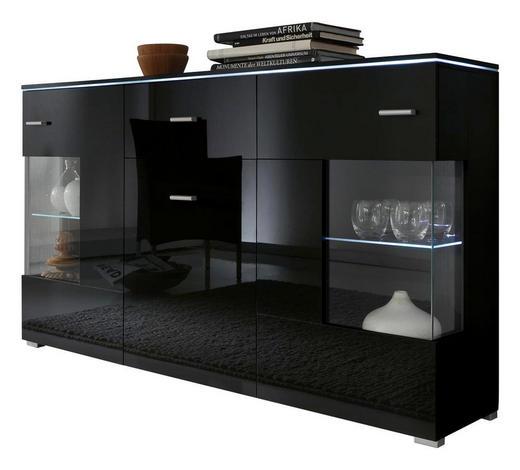 SIDEBOARD Schwarz - Silberfarben/Schwarz, Design, Glas/Holz (150/91/37cm) - Carryhome