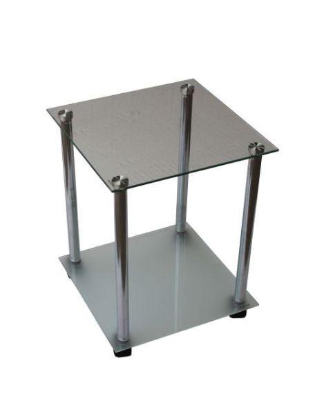 BEISTELLTISCH quadratisch Chromfarben, Schwarz - Chromfarben/Schwarz, Design, Glas/Kunststoff (34/45/34cm) - Boxxx