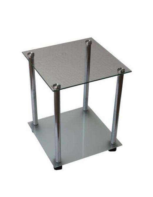 BEISTELLTISCH quadratisch Schwarz, Chromfarben - Chromfarben/Schwarz, Design, Glas/Kunststoff (34/45/34cm) - Boxxx