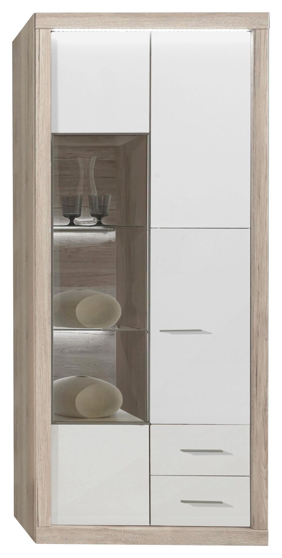 VITRINE Eiche Eichefarben, Weiß - Chromfarben/Eichefarben, MODERN, Glas/Holzwerkstoff (86/198,1/41,2cm) - XORA