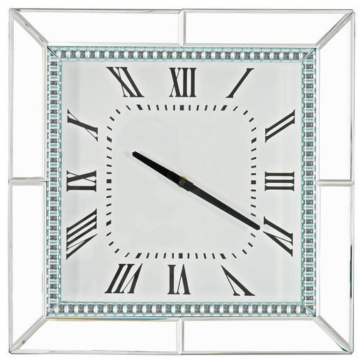 WANDUHR - Silberfarben, Design, Glas/Holzwerkstoff (40,5/40,5/5cm) - Xora