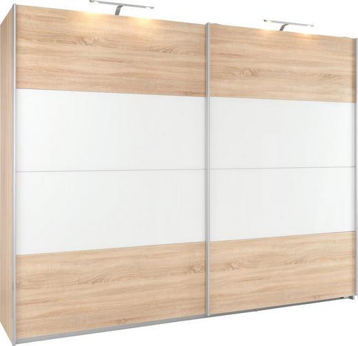 SCHWEBETÜRENSCHRANK 2-türig Sonoma Eiche, Weiß - Alufarben/Weiß, KONVENTIONELL, Glas/Holzwerkstoff (226/210/62cm) - Xora