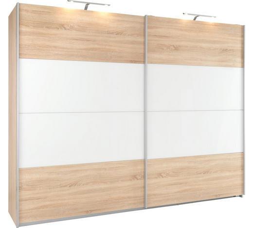 SCHWEBETÜRENSCHRANK in Weiß, Sonoma Eiche  - Alufarben/Weiß, KONVENTIONELL, Glas/Holzwerkstoff (226/210/62cm) - Xora