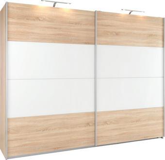 SKŘÍŇ S POSUVNÝMI DVEŘMI, bílá, Sonoma dub - bílá/Sonoma dub, Konvenční, kov/kompozitní dřevo (226/210/62cm) - Xora