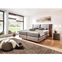 POSTEL BOXSPRING, 180 cm  x 200 cm, textil, jílová barva, šedá - šedá/barvy hliníku, Konvenční, textil/umělá hmota (180/200cm) - Bentley