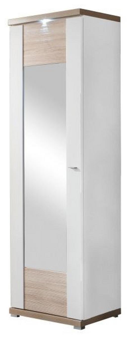 GARDEROBENSCHRANK - Chromfarben/Eichefarben, Design, Holzwerkstoff/Metall (65/206,6/41,6cm) - Xora
