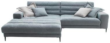 WOHNLANDSCHAFT in Textil Hellblau  - Schwarz/Hellblau, Design, Textil/Metall (207/296cm) - Dieter Knoll