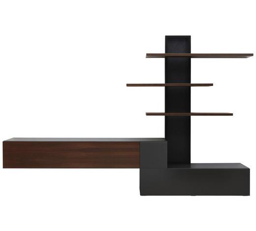 WOHNWAND furniert Grau, Eichefarben  - Eichefarben/Grau, Design, Glas/Kunststoff (326/213/45cm) - Ambiente by Hülsta