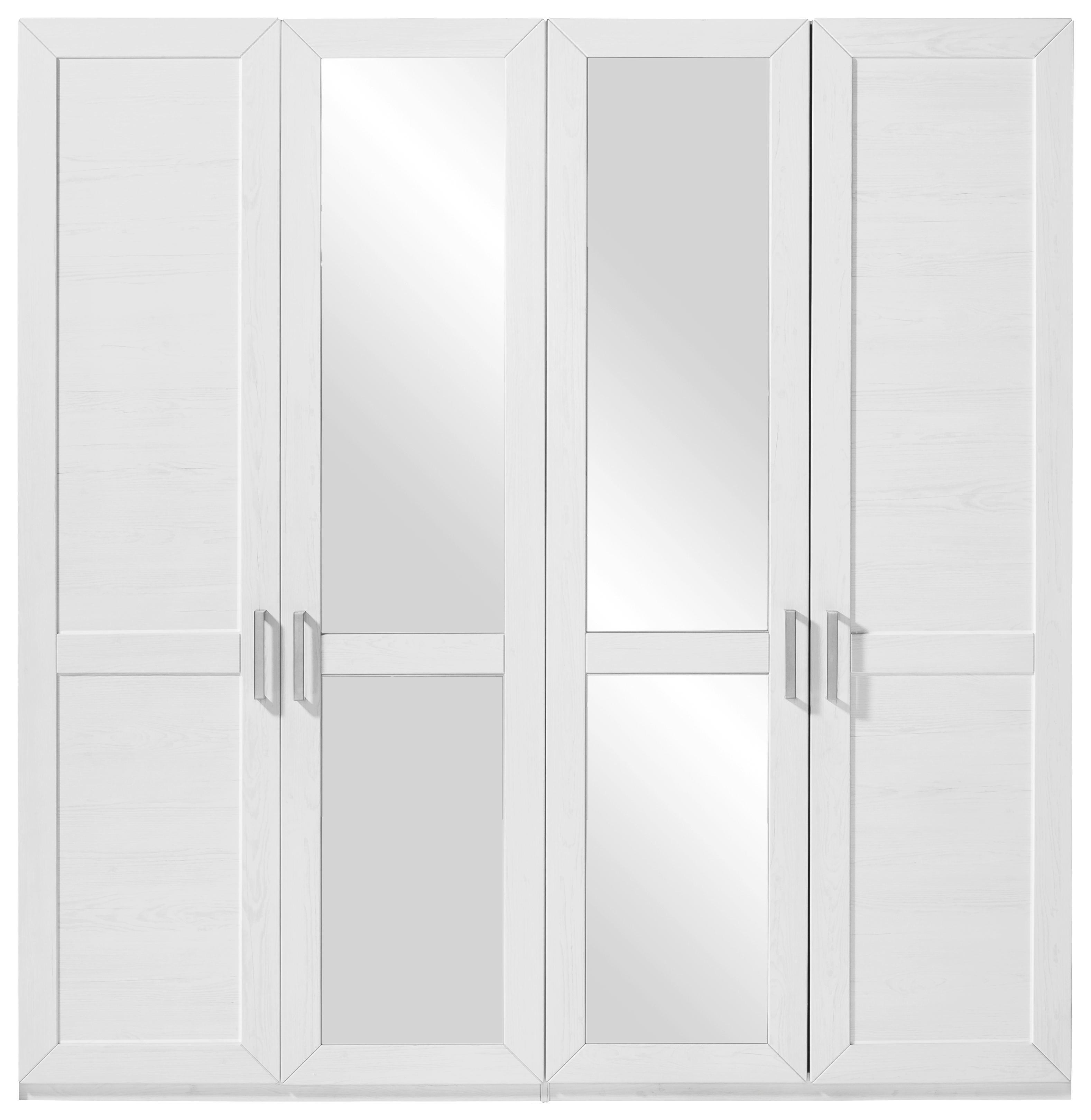 DREHTÜRENSCHRANK 4  -türig Eichefarben, Weiß - Eichefarben/Silberfarben, Design, Holzwerkstoff/Metall (215/209/60cm) - SET ONE BY MUSTERRIN