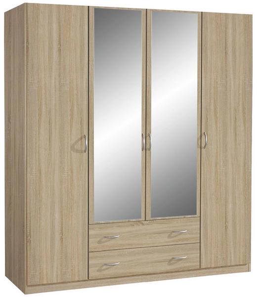 KLEIDERSCHRANK 4-türig Sonoma Eiche - Silberfarben/Sonoma Eiche, Design, Glas/Holzwerkstoff (181/197/54cm) - Carryhome