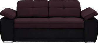 SCHLAFSOFA in Textil Schwarz, Beere  - Chromfarben/Beere, KONVENTIONELL, Textil (206/82/101cm) - Venda