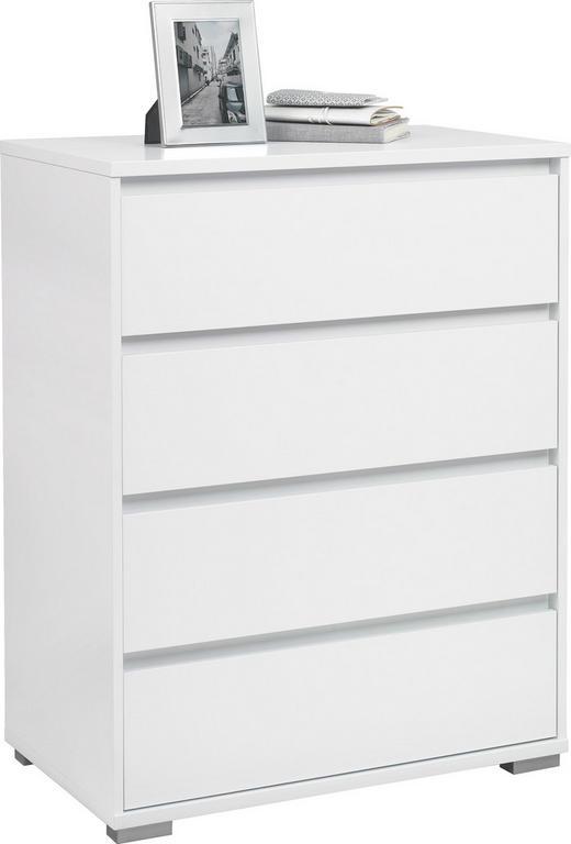KOMMODE Weiß - Alufarben/Weiß, Design (80/103/48cm) - Carryhome