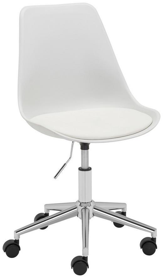 JUGENDDREHSTUHL Lederlook Weiß - Chromfarben/Weiß, Basics, Kunststoff/Textil (57,5/82-92/47cm) - Carryhome